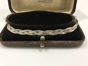 925 Sterling Silver Braided Bracelet,(Italy)7 Inches
