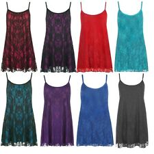 Womens Plus Size Floral Lace Lined Strappy Camisole Sleeveless Ladies Swing Vest