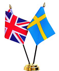 United Kingdom UK & Sweden Double Friendship Table Flag Set