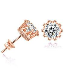 Sexy Sparkles Copper Ear Stud Earrings Cubic Zirconia Inlaid Crown 9mm Rose Gold