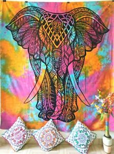 Handmade Wall Hanging Tapestry Queen Size Stand Elephant Design Cotton Multi Art
