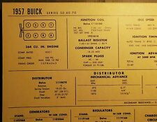 1957 Buick EIGHT Series 50, 60 & 70 Models 364 CI V8 Tune Up Chart