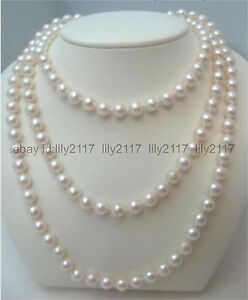 48 inches AAA classic 8-9mm round south sea white cultured pearl necklace 14k