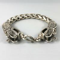 Chinese Rare Collectible Tibet Silver Handwork Dragon Amulet Bracelet