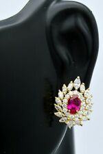 14K Solid Gold Oval Ruby marquise Created Diamond Flower Cluster Stud Earrings