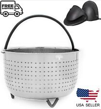 6 QT Steamer Basket for 6 - 8 QT Instant Pot Pressure Cookers + 2 Mini Mitts
