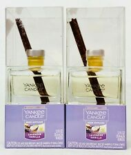 2 Yankee Candle Reed Diffuser Kit Lavender Vanilla Scent Oil Glass Sticks 1.2 oz