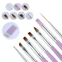 Professional 7x Nail Art UV Gel Painting Drawing Brushes Acrylic Flat Brush UK