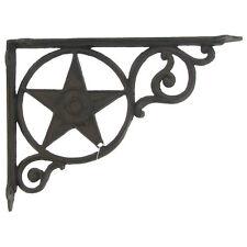 TWO Antique Style BLACK Star Shelf Brackets Cast Iron Wall Brace Metal. Western