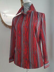 Vintage Retro St Bernard Blouse Red Navy Stripe Rope Pointy Collar Sz 14-16