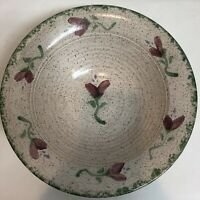 Studio Art Pottery Serving Bowl Stoneware Speckled Hand painted Sign Huge 10.75""