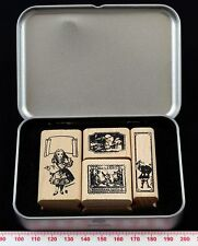 Alice in Wonderland 01 Rubber Stamp Set in Metal Tin with hinged lid
