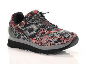 Scarpe Sneakers Donna LOTTO LEGGENDA S5829 OSAKA Rosso / Nero con Fantasia