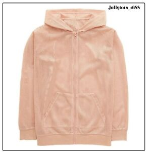 Girls Airtex Over Sized Zipped Hooded Bomber Jacket Blush Pink 11-16 Years BNWT