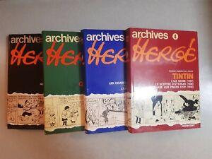 archives Hergé tomes 1 à 4 Casterman 1973-78-79-80 très bon état