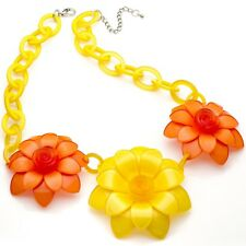 New large chunky yellow & orange colour flower acrylic fashion choker necklace