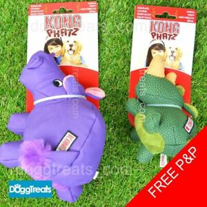 KONG Phatz Dog Toy - Squeaker Tough Durable Chew - Rhino Hippo