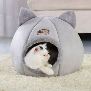 M/L/XL Cat Cave Bed Kitten For Indoor Cozy House Cat Bed Igloo Warm Nest Kennel