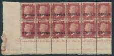 SG 2 Cyprus 1880. 1d red plate 215 lower marginal block of 12 with plate number