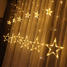 138 LED Star Curtain Window Fairy Lights Twinkle Christmas Display Party Wedding