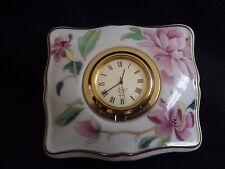Vintage Lenox Quartz Table Clock Pink Flowers New Battery Incl.