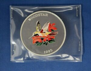 """1995 Turks & Caicos 5oz Silver 25 Crowns coin """"Woodstar"""" in Packet"""