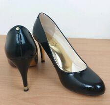 Ted Baker Womens Black Patent High Heel Court Shoes Size UK 4 EU37 Gold Detail