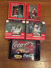LOT OF 5 NEW (OLD STOCK) COCA-COLA CHRISTMAS ORNAMENTS AND DECORATIONS