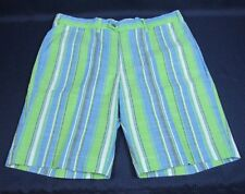 Loudmouth Mens Golf Shorts Size 40 Striped Green Blue White