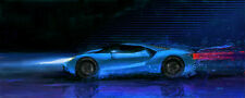 Motorsport Automotive Car Art 2016 Ford GT prototype hypercar with ecoboost
