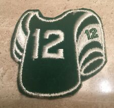 TRUE VTG 1970'S EMBROIDERED VELOUR IRON-ON PATCH - FOOTBALL JERSEY 12  N.O.S.