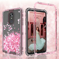 For LG Stylo 4/Stylo 4 Plus Hard Clear Glitter Sparkle Liquid Bling Cover Case
