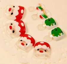 Clear False Fake Toenails Nail Tips for Toes Santa Claus Christmas Tree Z508