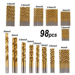 99Pcs Titanium HSS Coated Twist Drill Bits Set Multi Drill Hole Tool 1.5mm-10mm