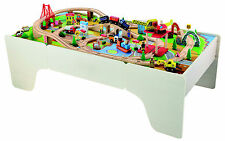 100pc Wooden Toy Train Set With Table Compatible With Thomas Wood
