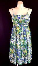 Jones NEW YORK dress L 12 green blue white watercolor empire pleat gather NICE