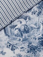 French Country Toile Doona Duvet Queen Quilt Cover + 2 Pillow Cases Blue