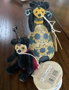 "Lot Of 2-3"" Gund Barton's Creek Miniature Bears  Ladybug And Buzzy Kelli Kirby"