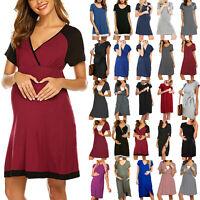 Lady Pregnant Maternity Nursing Breastfeeding Summer Short Sleeve Shirt Dress