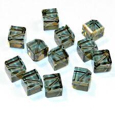 SCEA255 Black Diamond 10mm Faceted Diamond Dice Swarovski Crystal Beads 12pc
