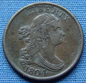 """*VERY NICE LOOKING 1804 DRAPED BUST HALF CENT """"SPIKED CHIN"""" - ESTATE FRESH*"""