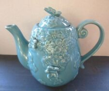 New listing Grace's Teaware~Butterfly Daisy~Ceramic 3D Embossed Raised~Aqua Blue Teapot New