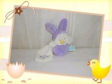 ☺ - Doudou Peluche Poussin Violet Blanc  Mini Capuche Mouchoir  Baby Nat Neuf