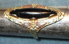 Ladies 10 & 12K Solid Gold 6.6 Grams BlackHills Ring Black Onxy Stone Size 8 3/4