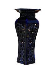 Ceramic Clay Navy Blue Round Tall Pedestal Stand vs147