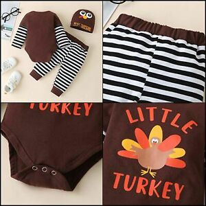 Baby Thanksgiving Outfits Romper Bodysuits Striped 3-6 Months Little Turkey