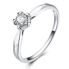 0.33ct Moissanite 4.5mm Round Cut Solid 18k White Gold Wedding Jewelry Ring Gift