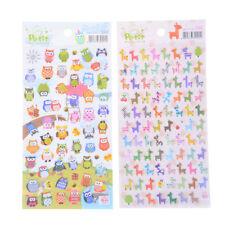 2 Sheets Cartoon Animal Sticker Owl + Giraffe Paper Scrapbooking Stickers new.