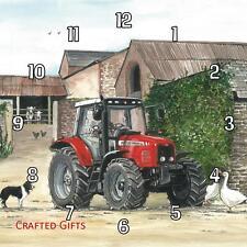 New Massey Ferguson tractor (2) by Sue Podbery Handmade Wall Clock