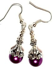 Long Classy Silver Purple Pearl Earrings Glass Bead Antique Vintage Style